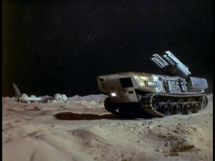 Rocket-launching vehicle on the Moon